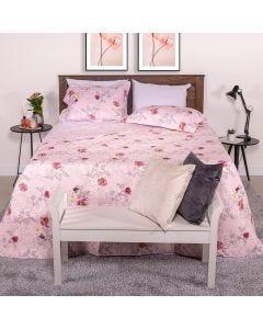 Cobre-leito Solteiro 2 peças 150Fios Solecasa - Amor Perfeito Rosa