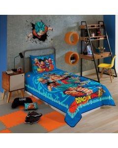 Cobre Leito Solteiro Dragon Ball Lepper - Azul