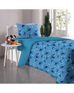 Cobre Leito Solteiro Frozen Disney - Amizade Azul