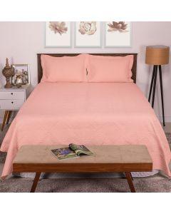 Colcha Casal 3 peças 2,20m x 2,40m Matelassê Provence Rozac - Nude Rosa