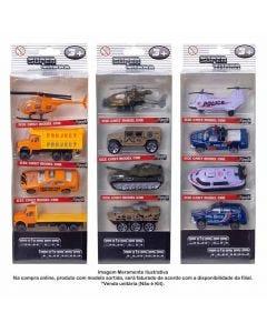 Conjunto Carrinhos Sortidos Militar/Policia/Bombeiro/Construção 4 Peças - HBMB003