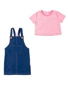 Conjunto de 1 a 3 Anos Blusa Canelle e Salopete Yoyo Kids