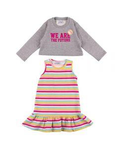 Conjunto de 1 a 3 Anos Vestido e Casaco Fakini Cinza/Listra