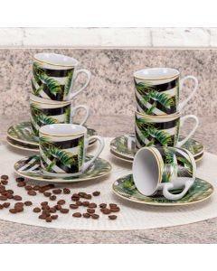 Conjunto de 6 Xícaras com Pires Tropical Lyor - Garden