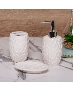 Conjunto de Banheiro Trabalhado 3 Peças Finecasa - Branco