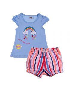Conjunto de Bebê Bata e Short Arco Íris Fakini Azul