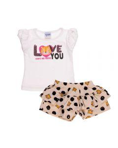Conjunto de Bebê Blusa e Shorts Fakini Marfim C/ Poa