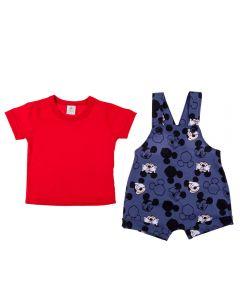 Conjunto de Bebê Camiseta e Jardineira Mickey Disney Azul/Maçã Amor