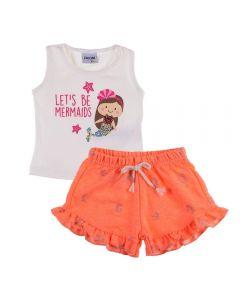 Conjunto de Bebê Regata e Short Moletinho Fakini Marfim