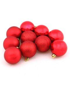 Conjunto de Bolas 6cm com 10 Peças Vermelho Havan - Vermelho