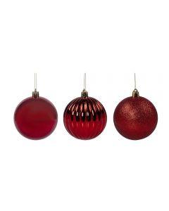 Conjunto De Bolas De Natal 8Cm Com 3 Peças Havan - Vermelho