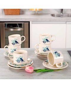Conjunto de Chá Blue Bird 12 Peças Biona - Ceramica