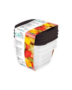 Conjunto de Potes Clic 3 peças Plasútil - Plastico