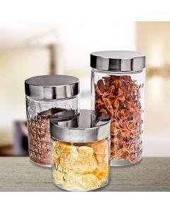 Conjunto de Potes Sabores 3 peças Euro Home - Vidro