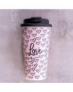 Copo Café para Viagem Love 430ml Finecasa - Rosa