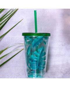 Copo com Canudo Plástico 500ml - Folhas