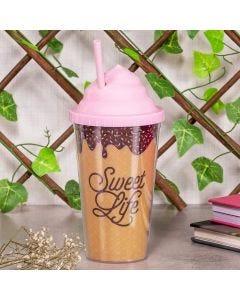 Copo com Canudo Sweet Life 500ml Finecasa - Marrom