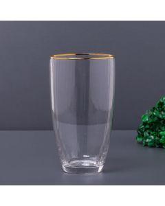 Copo com Filete Dourado 450ml Solecasa - Transparente