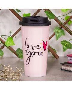 Copo de Café 430ml Love You Finecasa - Rosa