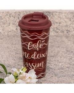 Copo para Café 430ml com Tampa Solecasa - Marrom