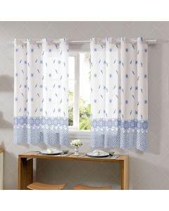 Cortina Allegra 2,60x1,40m de Cozinha Bella Janela - Porcelana Azul