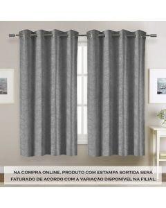 Cortina Jacquard Estampa Sortida 3,00X1,70M Havan - Cinza