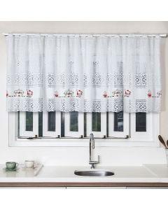 Cortina para Cozinha de Renda 200x80cm Havan - Café Branco