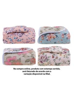 Edredom Casal 190X210cm Microfibra Floral Varias Estampas - Sortido