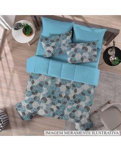 Edredom Casal Malha Soft Solecasa - Hexagonos Azul