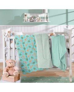 Edredom para Bebê Plush 1,00mx1,10m Plush Yoyo Baby - Verde