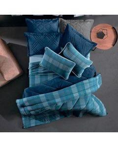 Edredom Solteiro Blend Malha Altenburg - Kilt Azul
