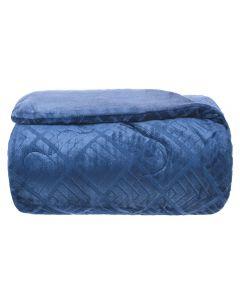 Edredom Solteiro Plush Jacquard Yaris - Azul