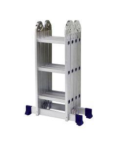 Escada de Alumínio Multifuncional 12 Degraus Mor - Prata