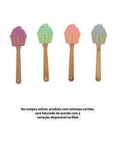 Espátula De Silicone Cupcake Com Cabo De Bambu 25,5Cm Imporiente - Sortido