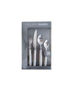 Faqueiro Bambu 24 Peças Finecasa - Branco
