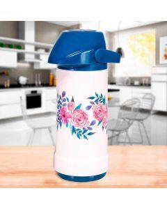 Garrafa Térmica 1 Litro Sistema de Pressão Invicta - Azul Floral