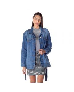 Jaqueta Jeans Feminina Com Faixa Patrícia Foster Blue