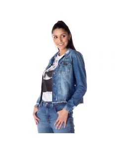 Jaqueta Jeans Feminina Girl Power Contatho Blue