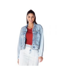 Jaqueta Jeans Feminina Rock And Rio Boby Blues Blue