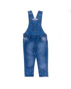 Jardineira Jeans de 1 a 3 Anos Florzinhas Yoyo Kids Azul