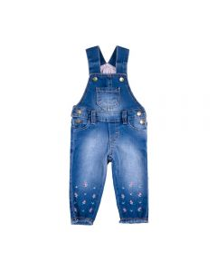 Jardineira Jeans de Bebê Florzinha Yoyo Baby Azul