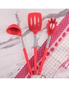 Jogo de 3 Utensílios de Cozinha Solecasa - Vermelho