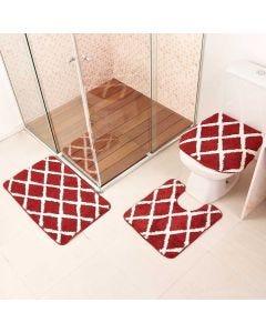 Jogo de Tapete para Banheiro Ibiza 03 Peças Havan - Vermelho