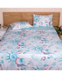 Jogo de Cama Queen 150 Fios 4 peças Solecasa - Netuno Lea Azul