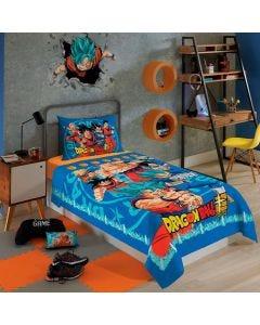 Jogo de Cama Solteiro 2 Peças Dragon Ball Lepper - Azul
