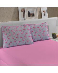 Jogo de Cama Solteiro 2 peças Malha Slym - Flamingo