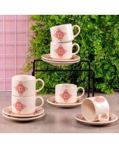 Jogo de Chá Donna Oxford 12 peças - Vermelho