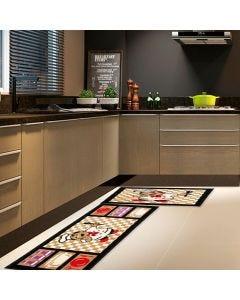 Jogo de Tapete para Cozinha Renaissance 2 Peças - Black