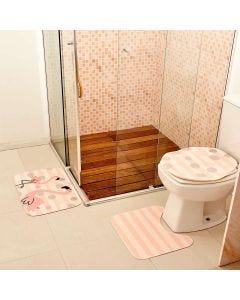 Jogo de Tapete para Banheiro 03 Peças em Transfer - Rosa