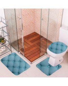 Jogo de Tapete para Banheiro 03 Peças em Transfer - Azul Claro